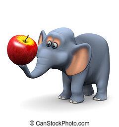 3d Elephant with an apple