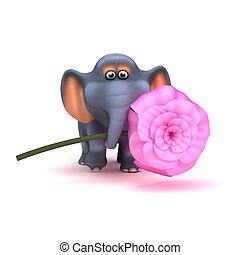 3d Elephant with pink rose