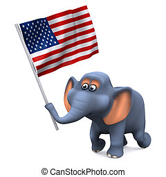 3d Elephant with the stars and stripes - 3d render of an...