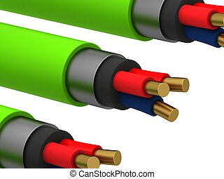 3d, elettrico, cavo, su, uno, sfondo bianco