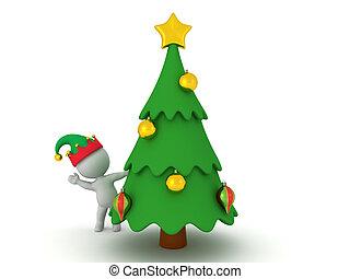 3D Elf waving from behind Christmas tree