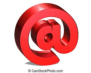 3D Email Red Sign