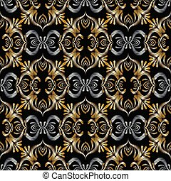 3d embroidery Baroque seamless pattern. Vector black gold silver
