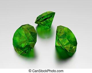 3D Emerald - 3 Green Gems