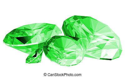 3d Emerald Gem Isolated - A 3d illustration of a emerald gem...