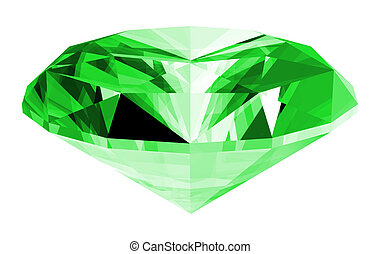 A 3d illustration of a emerald gem isolated on a white background.