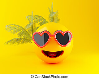 3d Emoji with sunglasses, Summer concept
