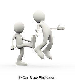 3d employer kicking out his employee - 3d illustration of...