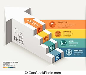 3d, empresa / negocio, escalera, diagrama, plantilla