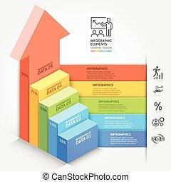 3d, empresa / negocio, flechas, escalera, diagrama, plantilla