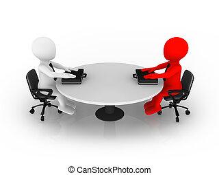 3d, empresa pequeno porte, pessoas sentando, em, tabela redonda