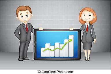 3d, empresarios, con, compañía, impida gráfico
