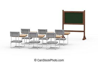 3d empty classroom