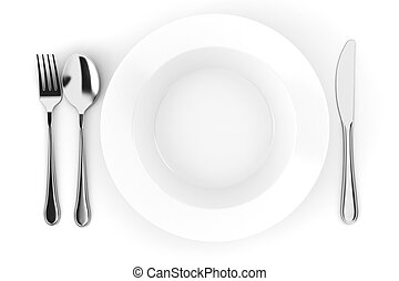 3d empty dinner plate isolated on white