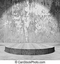 3D empty display podium in grunge concrete room