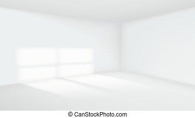 3D Empty Room Interior White Background