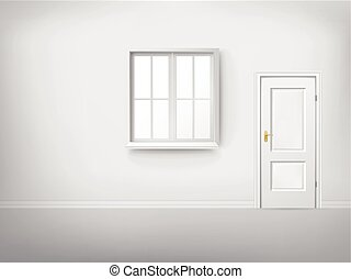 Empty room with large window. Empty bright room with large ...
