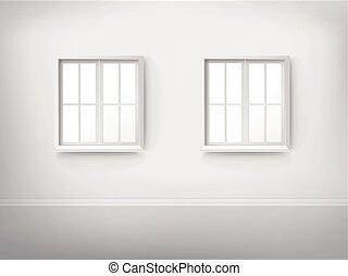 3d empty room with windows