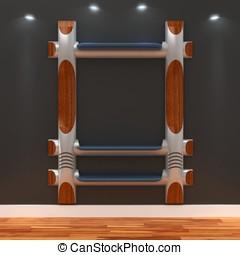 3d Empty shelves for exhibit
