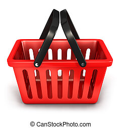 3d empty shopping basket, isolated white background, 3d...