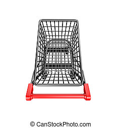 3D empty shopping cart high angle view - 3D empty shopping...