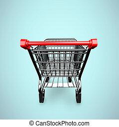 3D empty shopping cart rear view