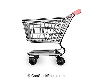 3D empty shopping cart side view