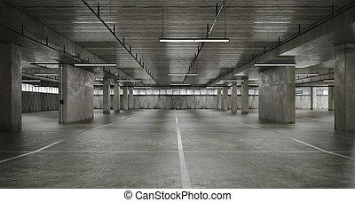 3d empty underground parking space