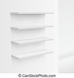 3D Empty White Shop Shelf On Wall
