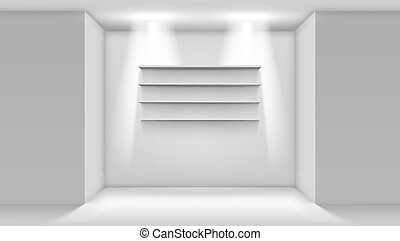3D Empty White Shop Shelf On Wall. EPS10 Vector