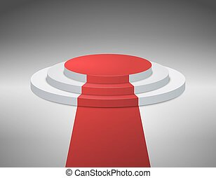 3d Empty white stage podium on gray background for award ceremony. Vector illustration.