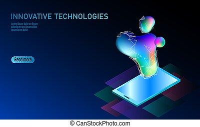 3D-enabled display smartphone concept. Stereoscopic isometric 3D business innovation technology. Colorful vibrant color globe shape iridescent fluid gradient neon bright vector illustration