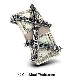 3d, encadenado, nosotros dólares