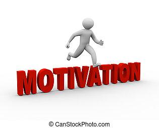 3d, encima, saltar, motivación, hombre