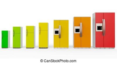 3d, energía, eficiencia, concepto, con, refrigeradores