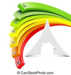 3d, energia, eficiência, conceito