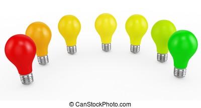 3d energy efficiency concept with light bulbs