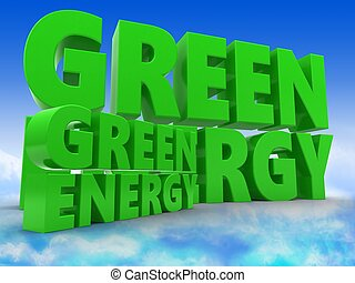 3d energy with green sign