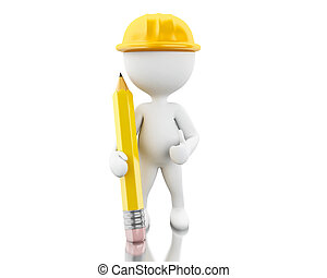 3d Engineer with helment and pencil