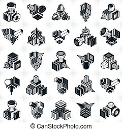 3D engineering vectors, collection of abstract shapes.