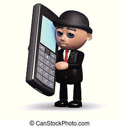 3d, engraçado, caricatura, homem negócios, personagem, usando, um, telefone móvel