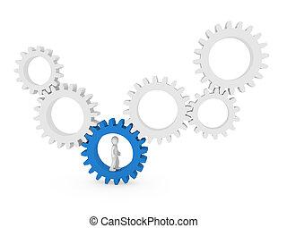 3d, engranaje, humano, azul