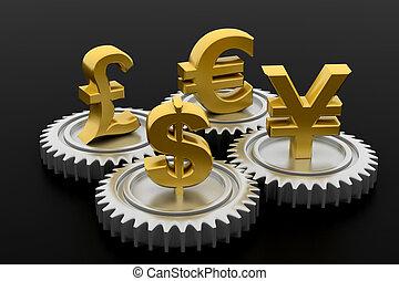 3d, engrenage, à, devise globale