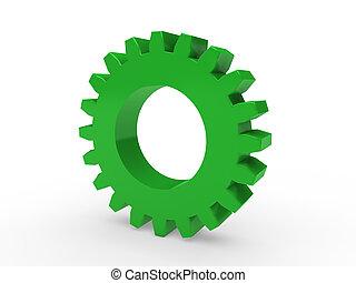 3d, engrenagem, verde