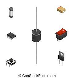 3d, ensemble, électronique, différent, composants, illustration., vecteur