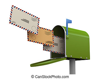 3d envelopes going into mailbox - 3d render of letters and...