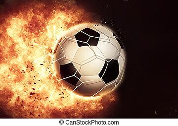 3D eploding fiery football / soccer ball