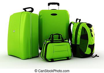 3d, equipaje, aislado, blanco, plano de fondo