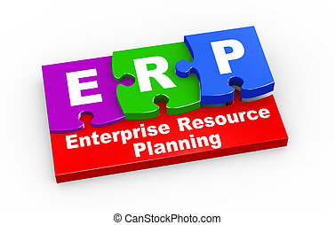3d erp puzzle pieces illustration