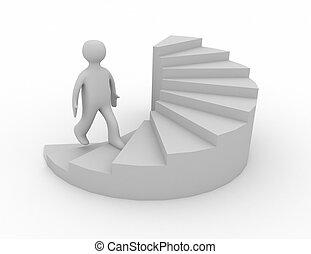 3d, escalier, reussite, homme